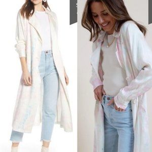 Something Navy Satin Tie Dye Trench Coat White XS